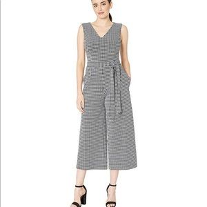 NWT Calvin Klein cropped checked jumpsuit